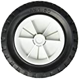 Shepherd Hardware 9610 6-Inch Semi-Pneumatic Rubber Replacement Tire, Plastic Wheel, 1-1/2-Inch Diamond Tread, 1/2-Inch Bore Offset