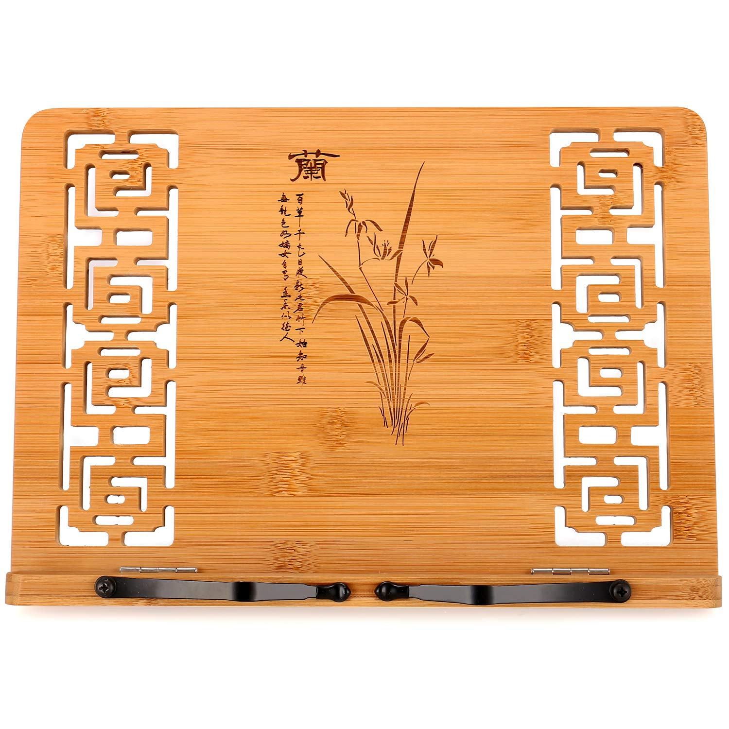 13 x 9.4 inch Buddha Holds Lotus Flower MEGREZ Bamboo Foldable Book Stand Reading Frame Rest Holder Cookbook Cook Stand//iPad Tablet PC Textbook//Music Document Stand//Desk Bookrest with Retro Hollow