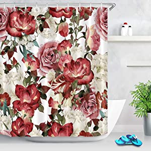 LB Vintage Floral Shower Curtain with Hooks,Peony Rose Flower Blossom Bathroom Curtain Red Pink White,60x72 inch Waterproof Polyester Fabric Bathroom Accessories