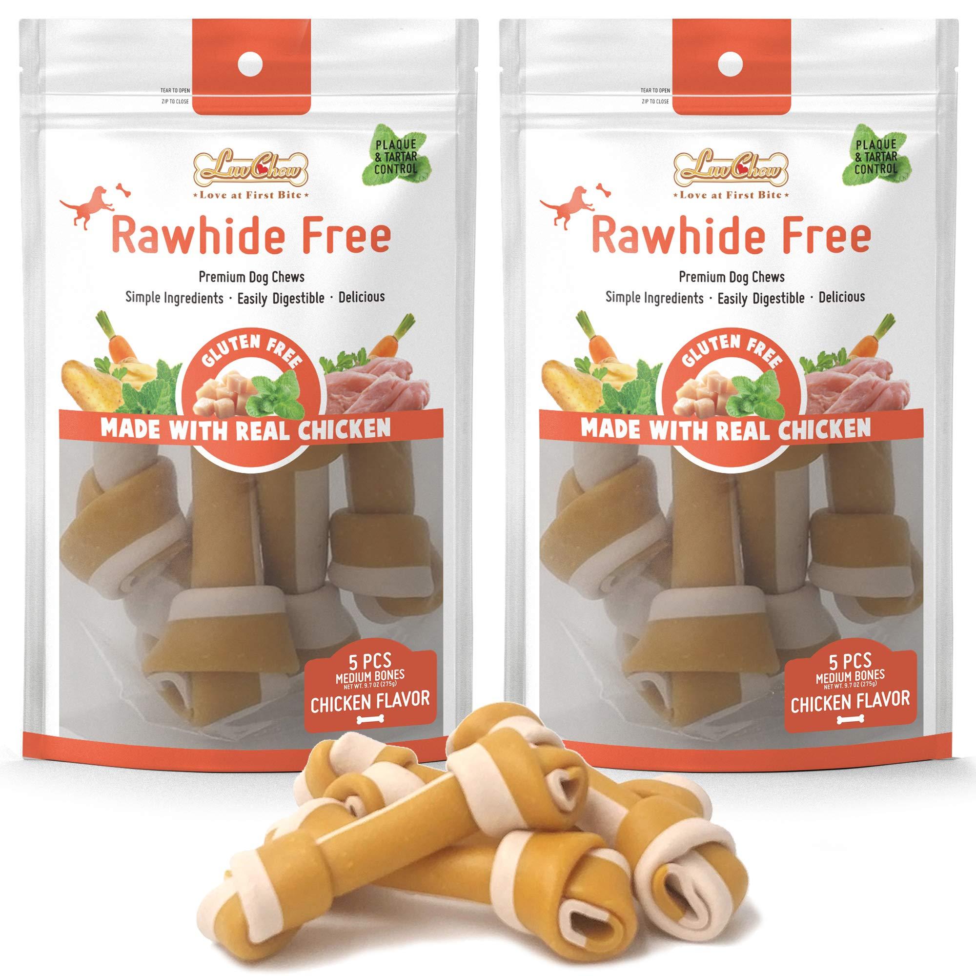 LuvChew Gluten Free Rawhide Free Chicken Bones (Medium 5pcs/Pack x 2packs) by LuvChew
