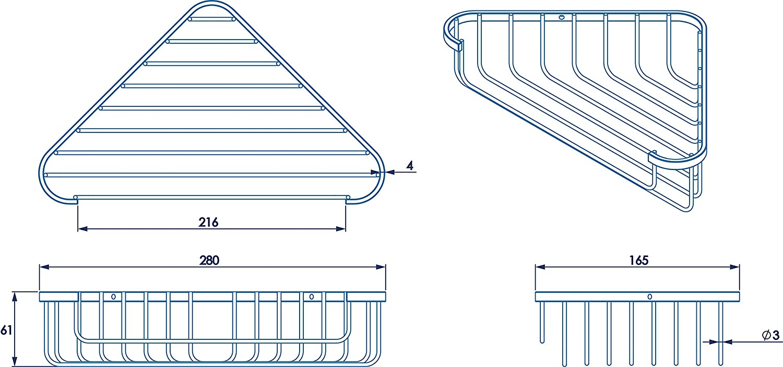 Croydex Chrome Wall Mounted Corner Shower Basket for Bathroom, 5 Year Rust Free Guarantee QM265941