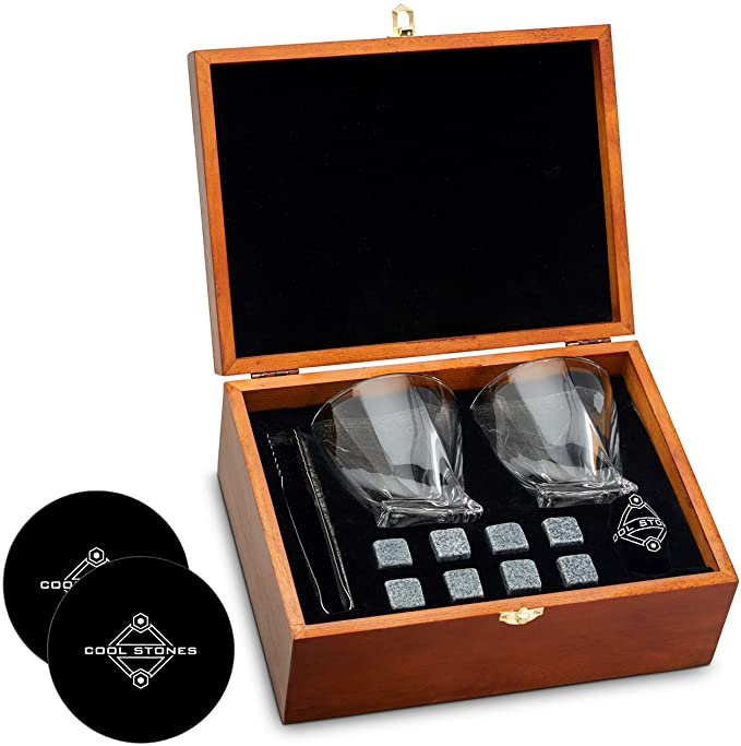 7 oz Crystal Whiskey Glass And Stone Set Whiskey Glass Set 2 Bourbon Glasses 8 Whisky Rocks Chilling Stones 2 Slate Coasters Glassware in Wooden Box