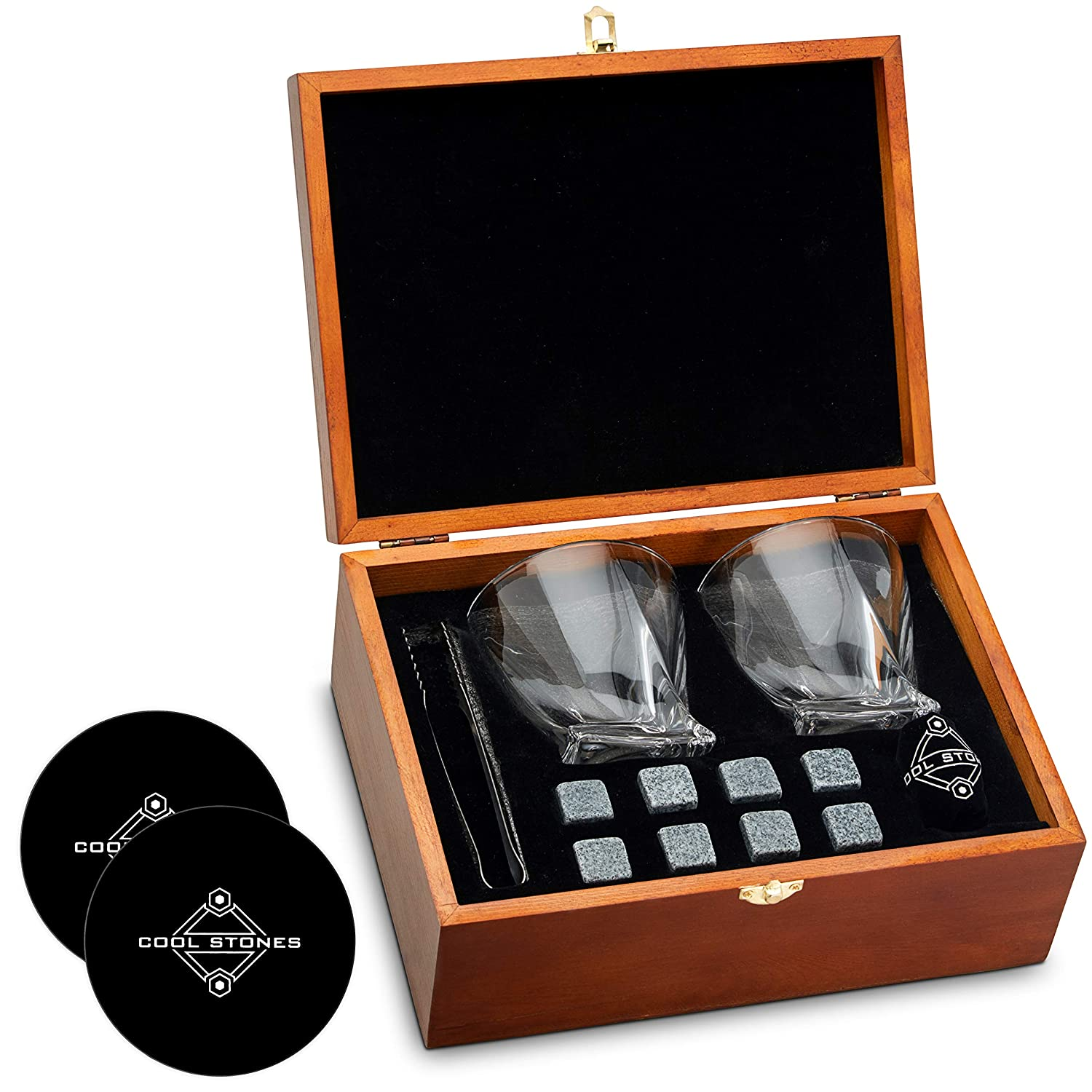 Whiskey Stones and Whiskey Glass Gift Boxed Set - 8 Granite Chilling Whisky Rocks + 2 Crystal Glasses in Wooden Box + Silicone Coasters - Great Gift for Father's Day, Dad's Birthday or Anytime For Dad