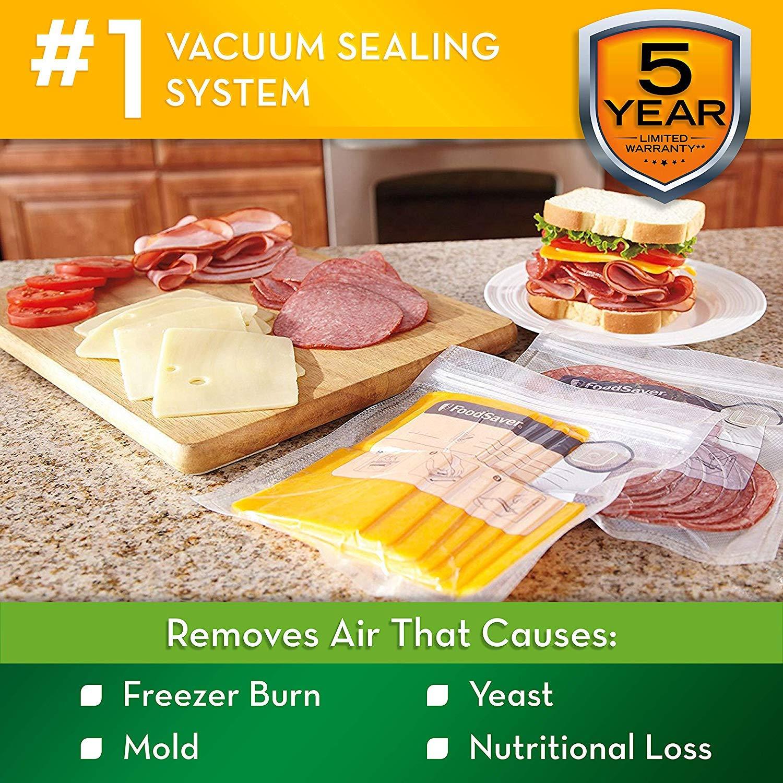 FoodSaver V2244 Vacuum Sealer Machine for Food Preservation with Bags and Rolls Starter Kit | #1 Vacuum Sealer System | Compact & Easy Clean | UL Safety Certified | Black - 2 Pack by FoodSaver (Image #2)