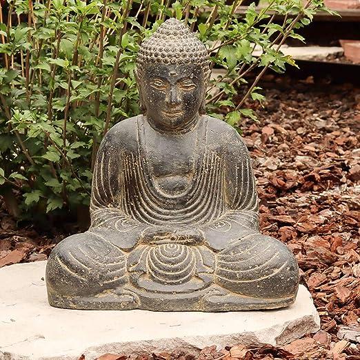 Figura de Buda piedra sentado Escultura Japón piedra Figura Estatua Jardín Asia 40 cm: Amazon.es: Hogar