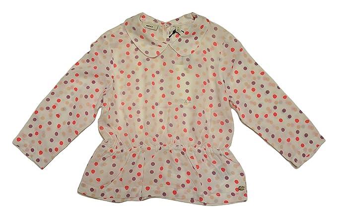 Mexx - Blusa - Lunares - Cuello redondo - para niña Blanco blanco