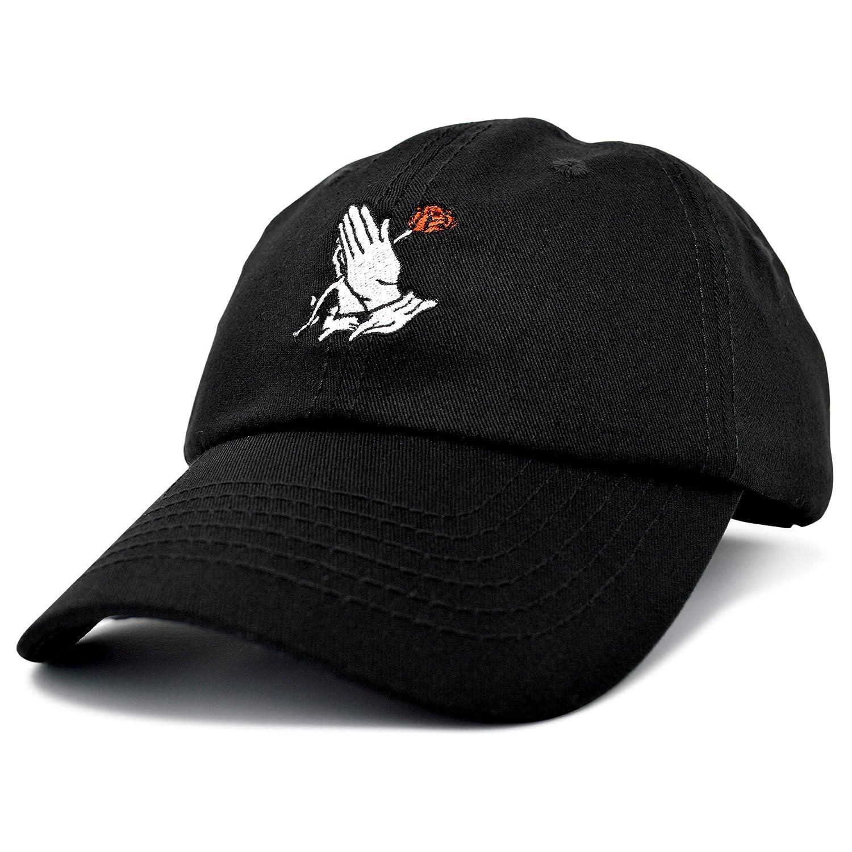8d01e4c3e5a27 Amazon.com  DALIX Prayer Hands Hat Baseball Cap Black Dad Hats Rose   Clothing