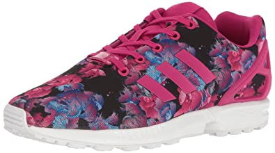 c8360c69978 adidas Originals Girls' ZX Flux J Running Shoe, Bold Pink Buzz White, 6
