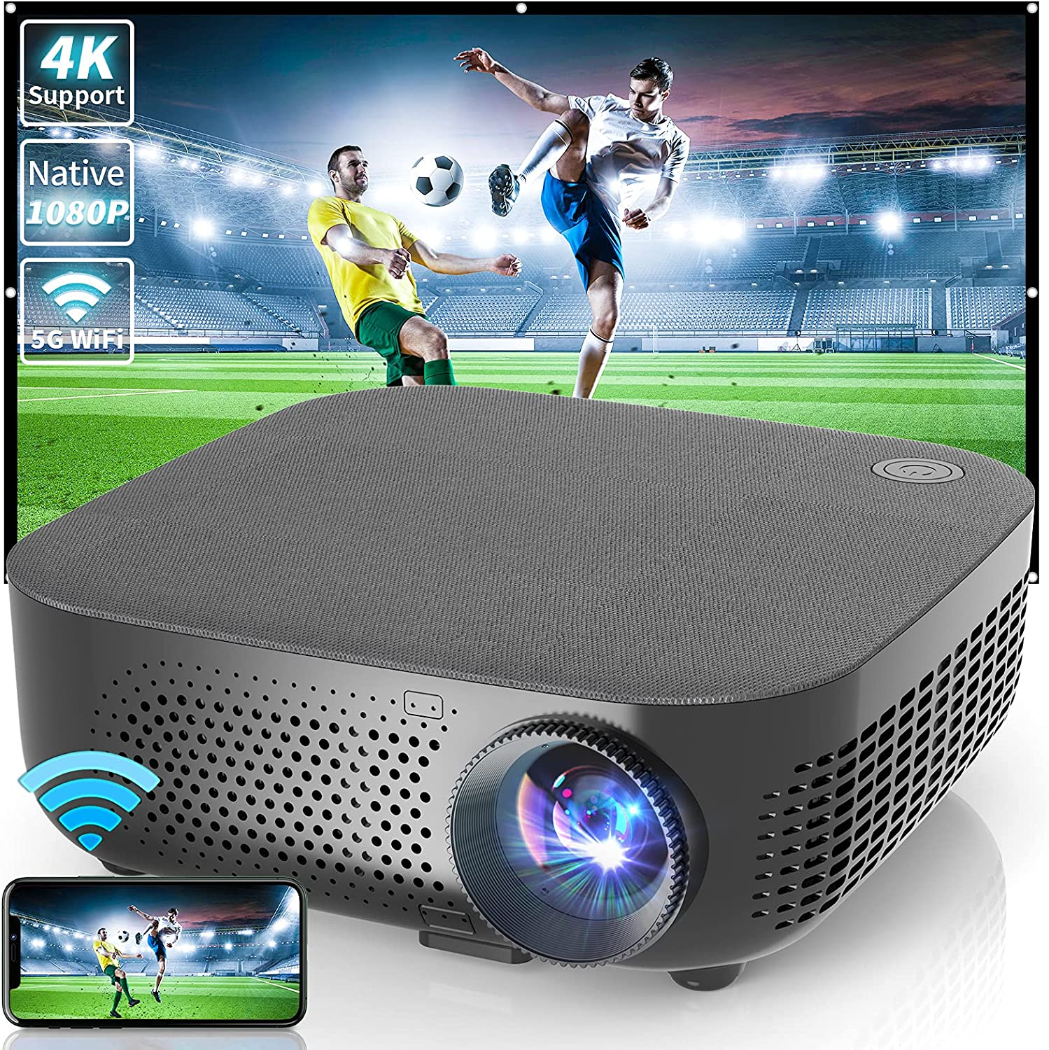 WISELAZER 1080p Ultra HD 7500L Home Movie Projectors, Support 4K, 5G