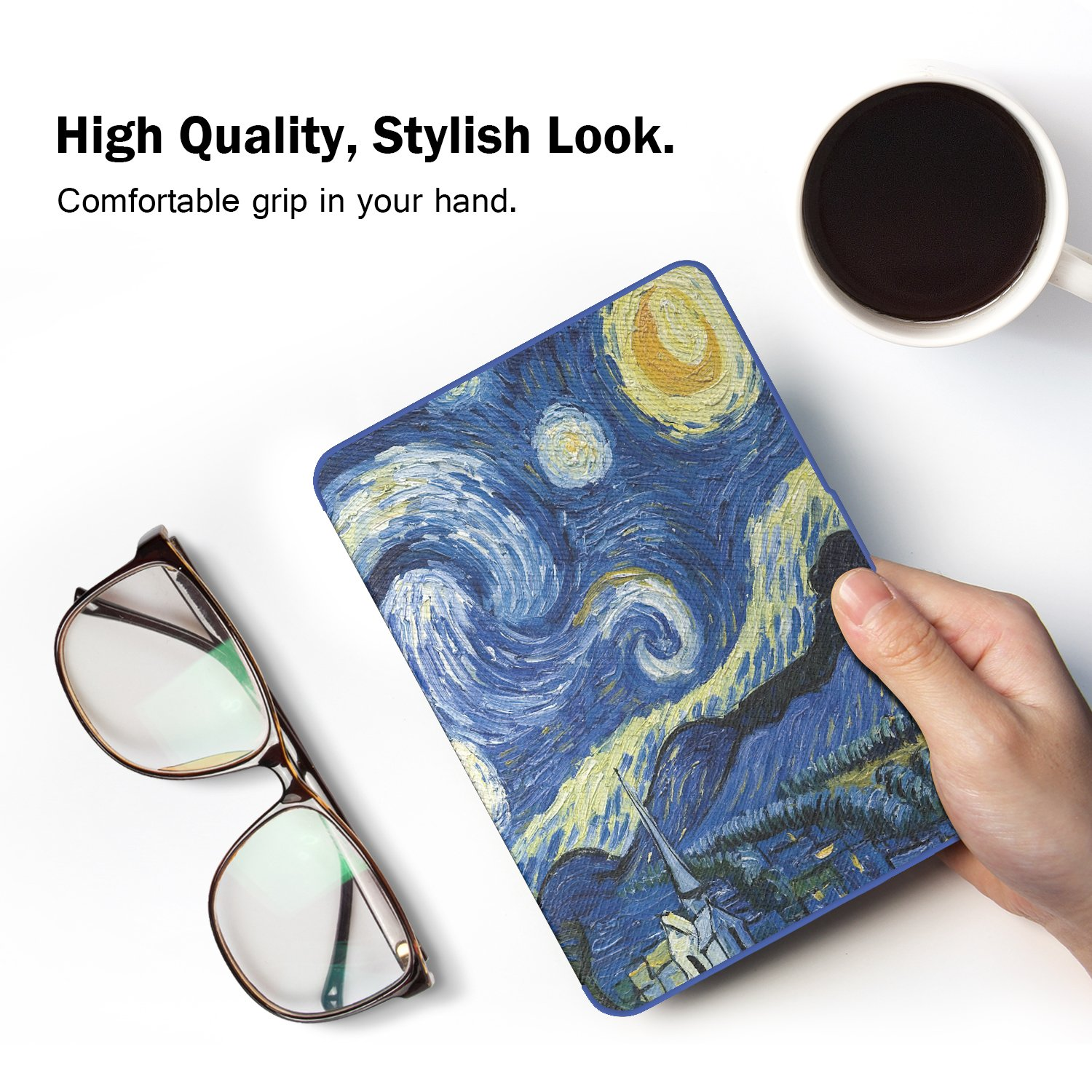 MoKo Case for Kindle Paperwhite, Premium Thinnest and Lightest PU Leather Cover with Auto Wake/Sleep for Amazon All-New Kindle Paperwhite (Fits 2012, 2013, 2015 and 2016 Versions), Starry Night by MoKo (Image #5)