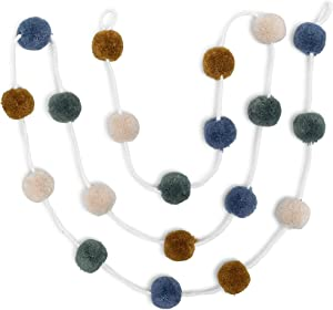 Zoe Frances Designs Yarn Pom Pom Garland - Colorful Hanging Decorations for Nursery, Baby Shower, Birthday, Fall & Christmas - Bedroom Decor for Boys - Blue, Green & Mustard