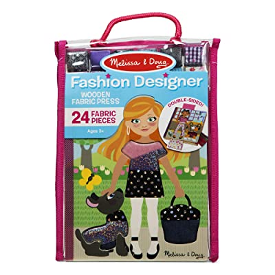 Melissa & Doug Fashion Designer Wooden Fabric Press – 24 Fabric Pieces to Layer, Great Gift for Girls and Boys – Best for 5, 6, 7, and 8 Year Olds, Multicolor: Toys & Games