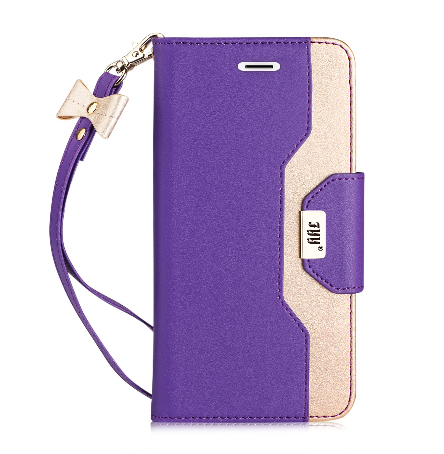 FYY Case for Galaxy S9 Plus, [Inside Makeup Mirror Leather Wallet Case] with [Prevent Card Information Leaking Technique] and [Kickstand Feature] for Samsung Galaxy S9 Plus Purple+Gold