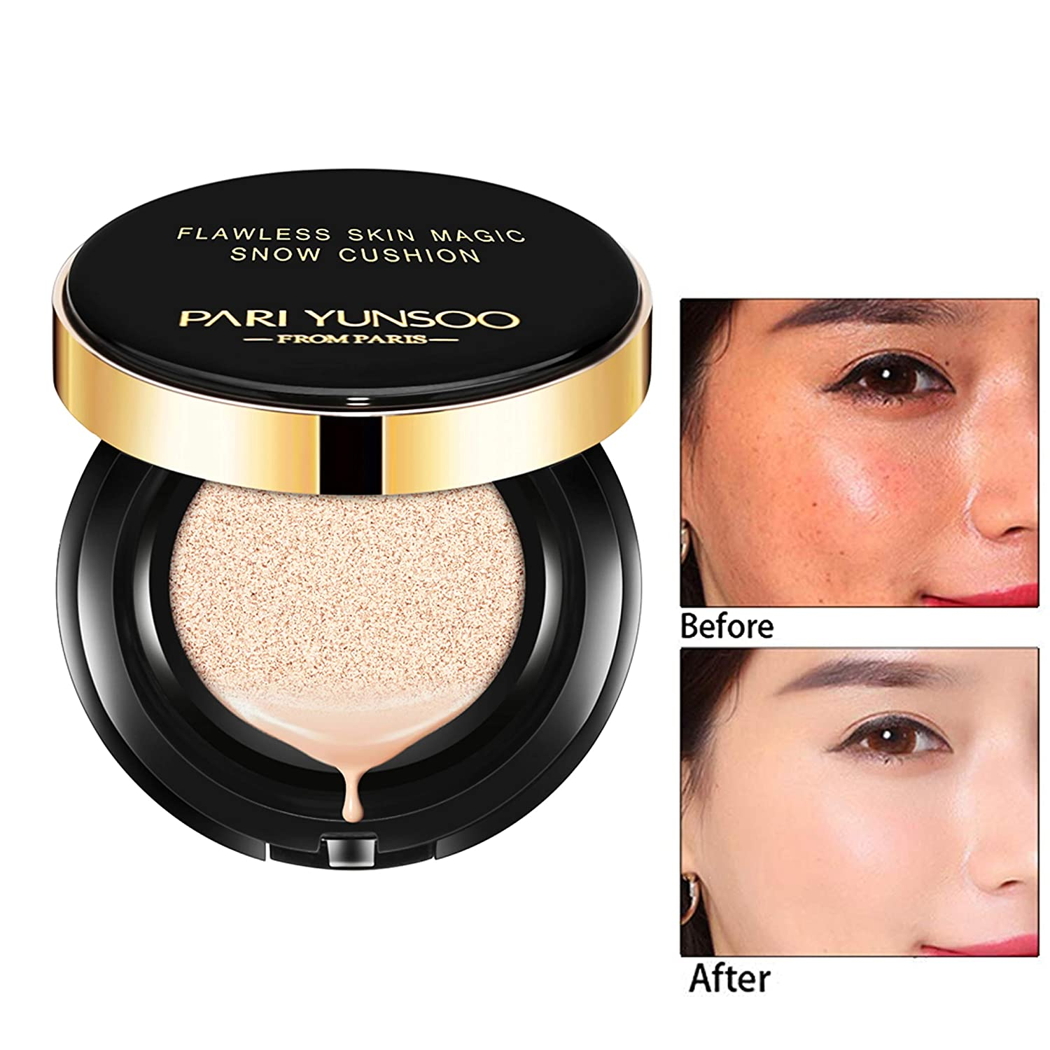 Firstfly Flawless Air Cushion BB Cream Compact Foundation Moisture Natural Cover Concealer, Matte Full Coverage Cushion Foundation for Women Girls (Ivory White)