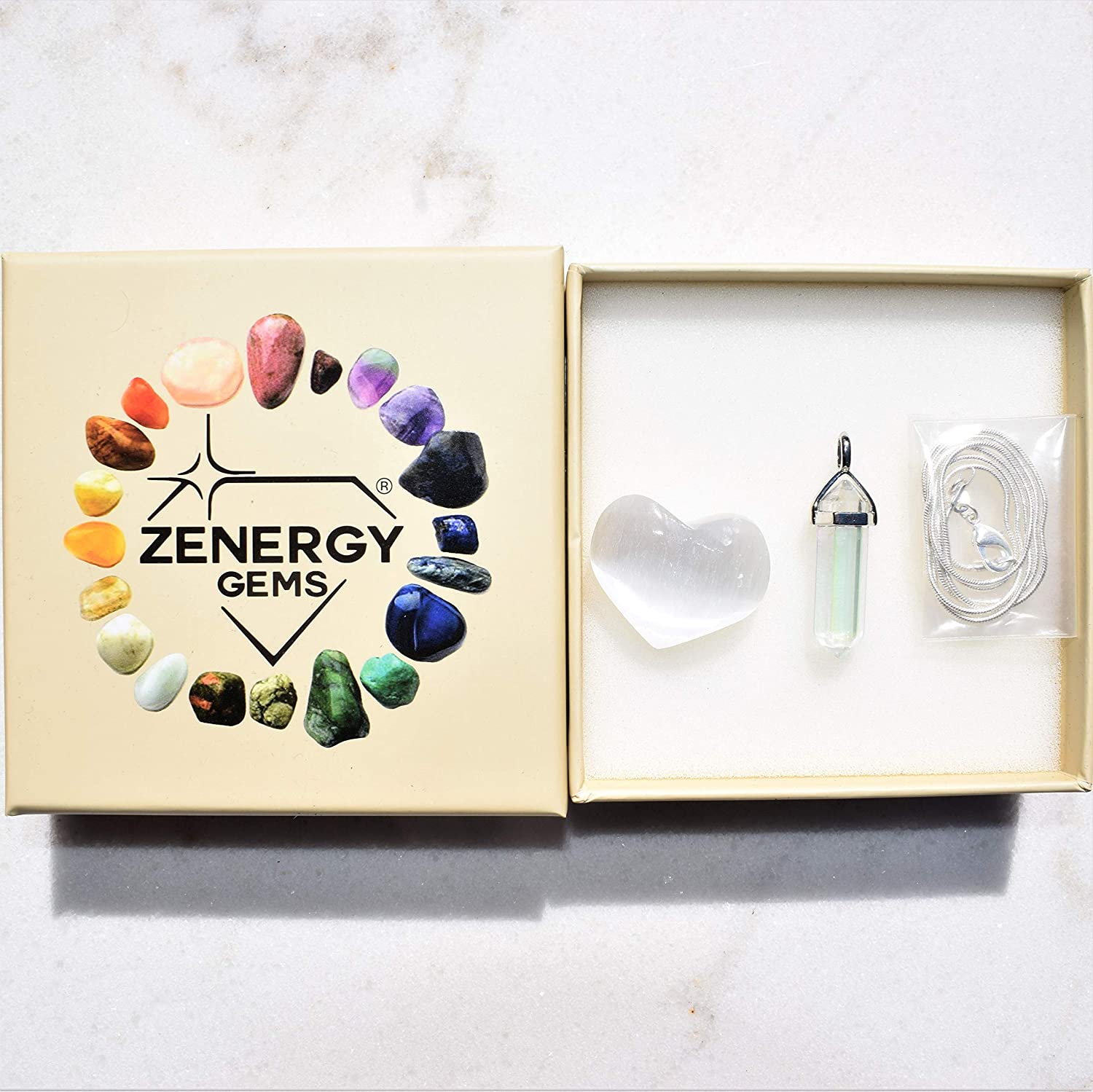 Zenergy Gems Selenite Charged Faceted Hand-Made Natural Gemstone Crystal Pendants