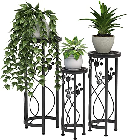 Amazon Com Mecor Metal Plant Stand 3 In 1 Flower Pot Holder Indoor Outdoor Display Rack For Potted Plant Round Garden Outdoor