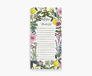 Rifle Paper Co. Herb Garden Market Pad, 65 Tear-Off Pages, Features an Attachable Magnet, Warm White Paper Text, Unique Hand-Painted Design