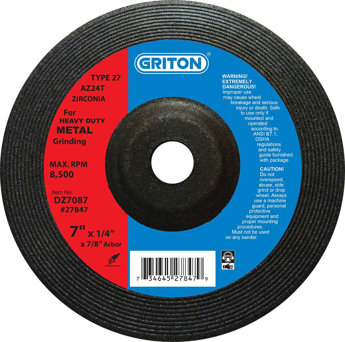 Griton DZ7087 Type 27 Heavy Duty Zirconia Grinding Wheels Used on Metal, Zirconia/Aluminum Oxide, 8500 RPM, 7'' Diameter (Pack of 20)
