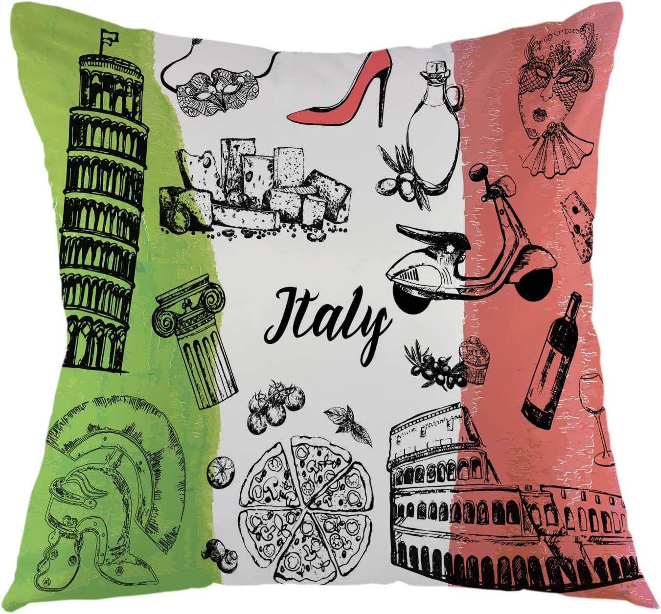 "oFloral Italy Themed Throw Pillow Cover Landmarks Food Square Cushion Case Home Decorative for Sofa Couch Car Bedroom Living Room Decor 18"" x 18"" inch Black Green Red White"