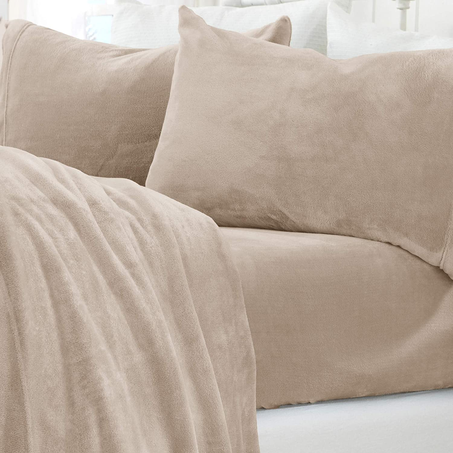 Micro Fleece Extra Soft Cozy Velvet Plush Sheet Set. Deluxe Bed Sheets with Deep Pockets. Velvet Luxe Collection (Twin, Taupe)