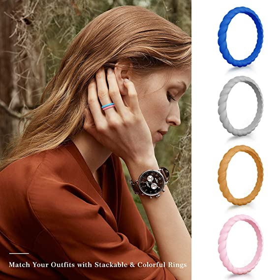 d129aaa19b8 Amazon.com   COOLOO Silicone Wedding Ring for Women