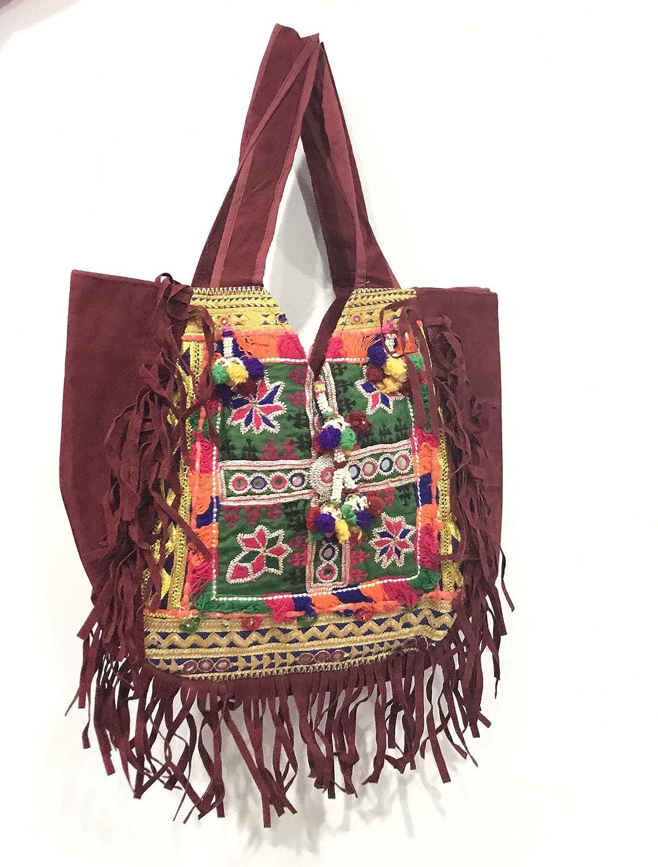 48cde44389a Amazon.com: Tribal Gypsy Hand Bag, Vintage Banjara bag, Fringe ...