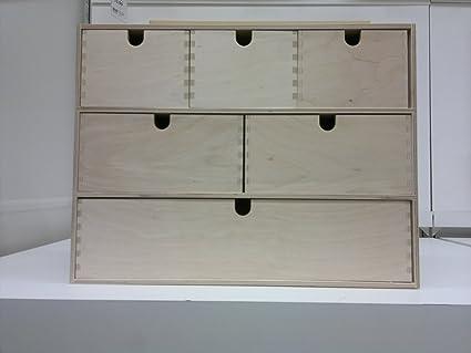 Ikea - Mini cassettiera in legno, 6 cassetti, contenitore, scatola ...