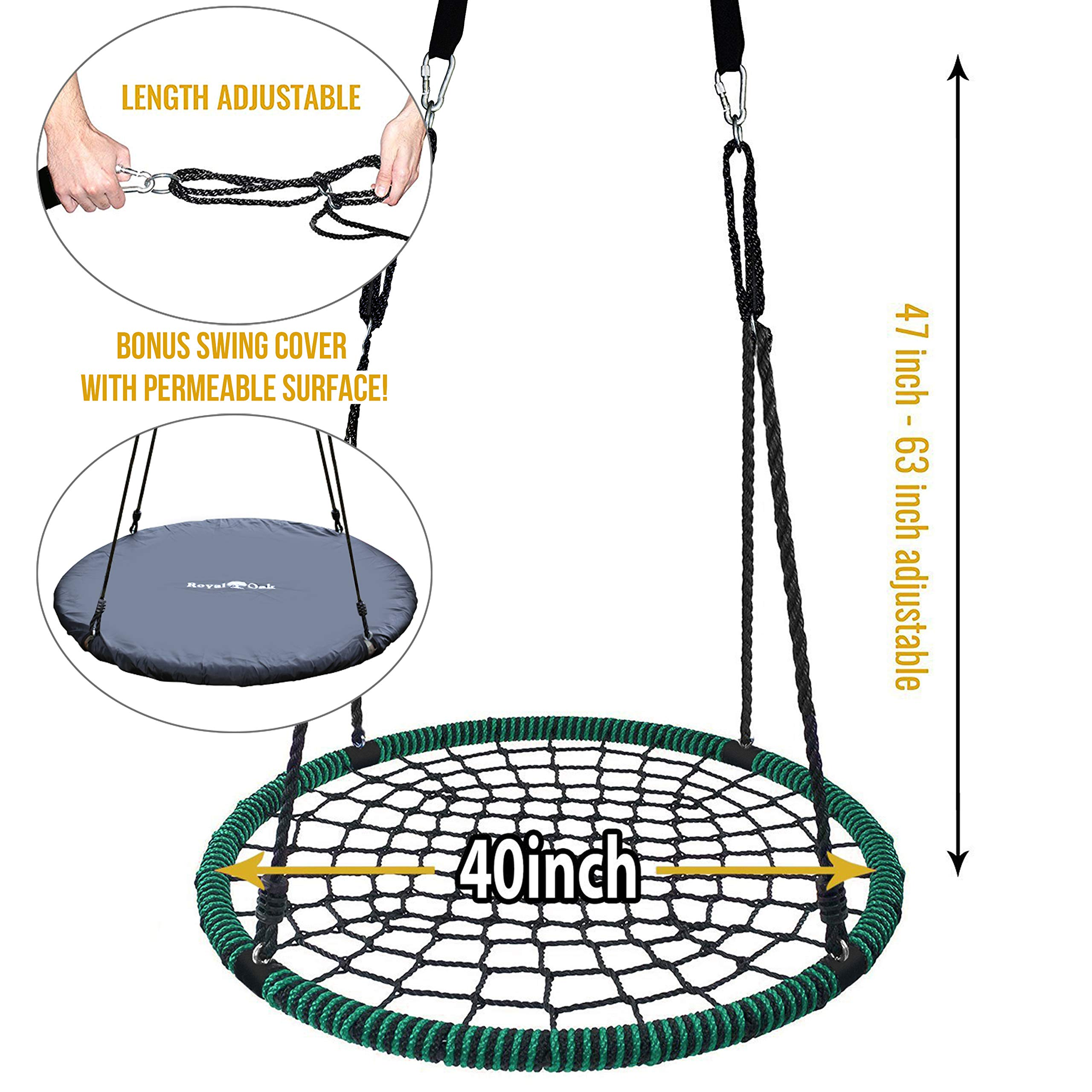 Royal Oak Giant 40'' Spider Web Tree Swing, 600 lb Weight Capacity, Durable Steel Frame, Waterproof, Adjustable Ropes, Bonus Flag Set and 2 Carabiners, Non-Stop Fun for Kids! by Royal Oak (Image #2)