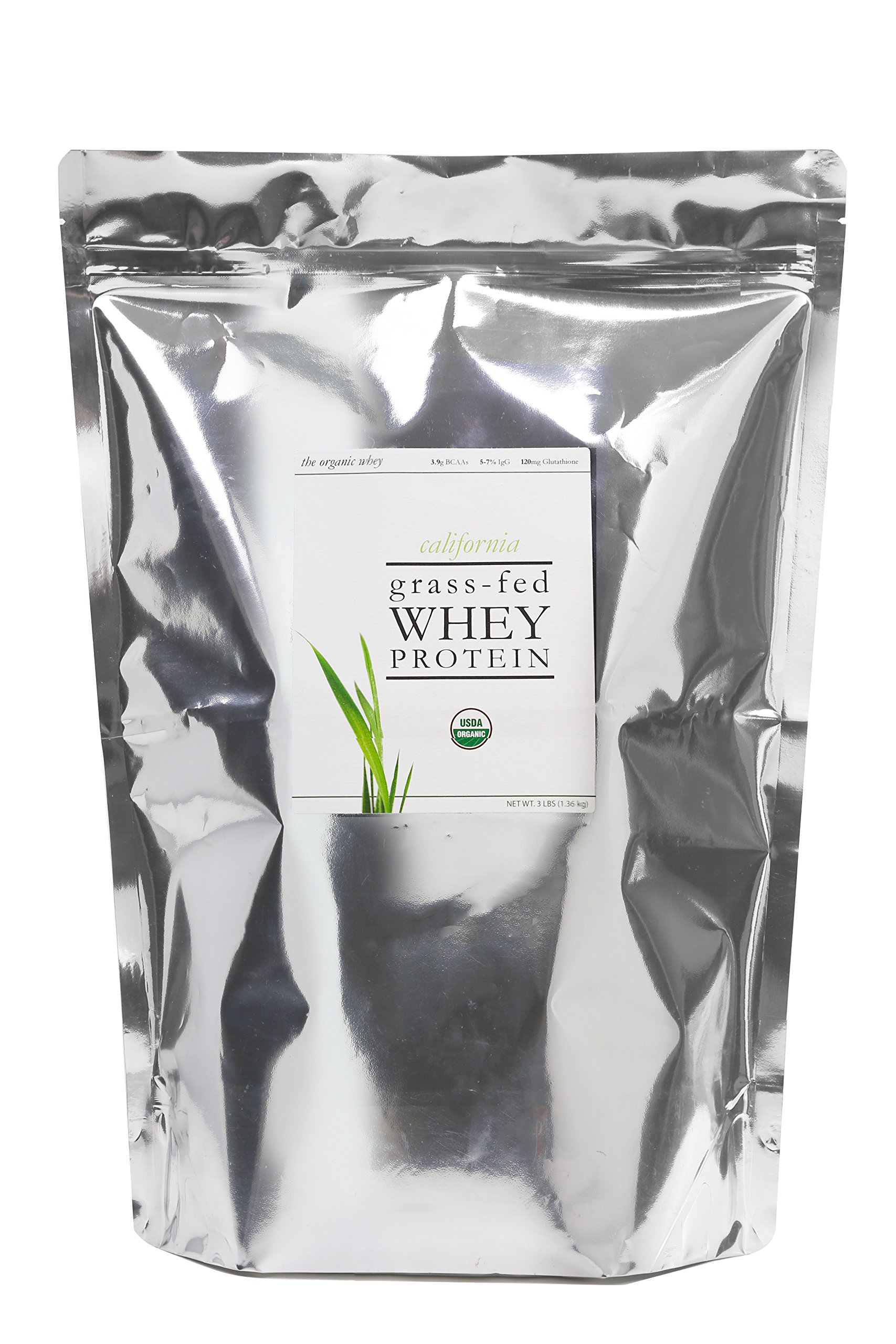 The Organic Whey Protein Powder - 100% Grass Fed Whey Protein - Gluten-free, Non-GMO, USDA Certified Organic Whey Protein - Unflavored Whey Protein Powder - Bulk Bag, 3 lbs by The Organic Whey