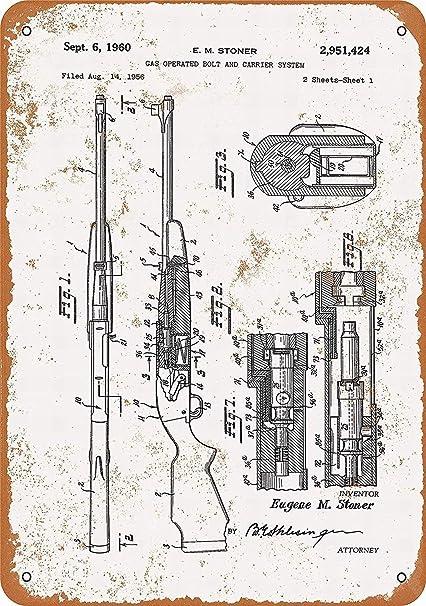 Amazon.com: PaBoe 8 x 12 Metal Sign - M16 Rifle Patent - Vintage Bar on