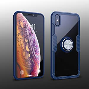 iPhone X/iPhone Xs Case | Transparent Crystal Clear Cover | Carbon Fiber Trim & Rubber Bumper | 360° Rotating Magnetic Finger Ring | Kickstand | Compatible with Apple iPhone X/iPhone Xs - Blue