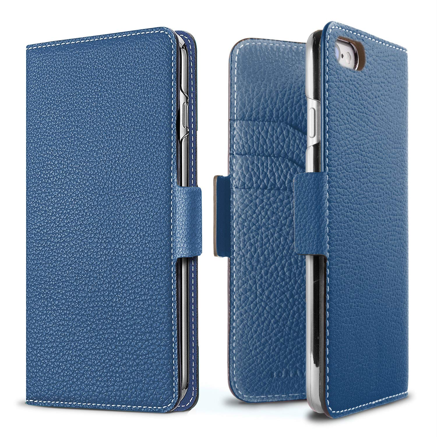 BONAVENTURA Diary Magnet Leather Wallet Case [Compatible with iPhone 8/7, Blue]