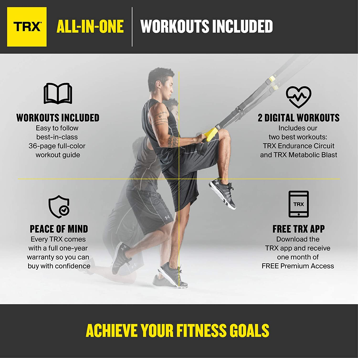 Trx All In One Suspension Training System Full Body The Totalbody Circuit Workout You Can Do While Travel Workouts For Home And Outdoors Includes Indoor Outdoor Anchors Guide
