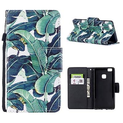 Funda Huawei P9 Lite, Yoota Funda Billetera [Ranura Para Tarjetas] Flip Wallet Case Cover [Soporte Plegable] Lindo Cartera Ultra Delgada Carcasa para Huawei P9 Lite - Banano