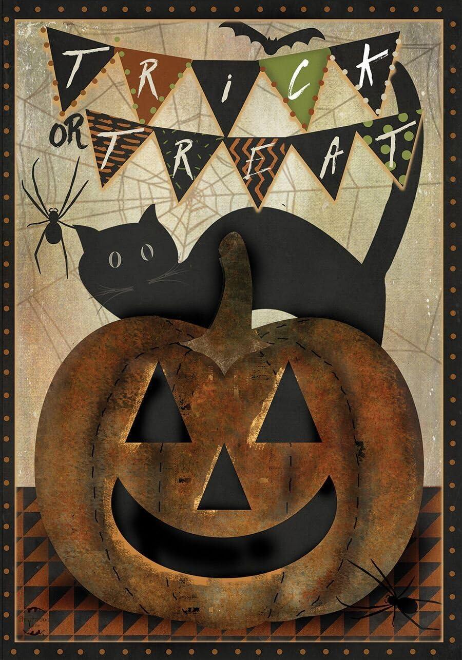 Briarwood Lane Trick Or Treat Halloween House Flag Primitive Black Cat Jack O'Lantern 28