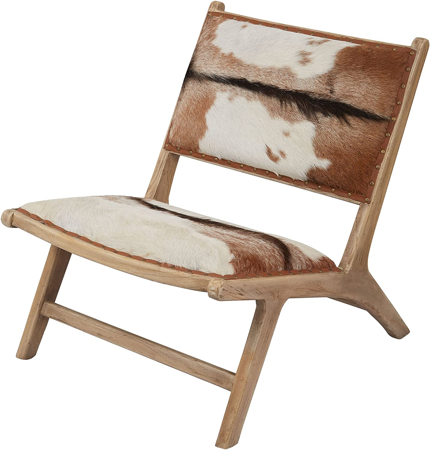"""Dimond Home Goatskin Leather Lounger, 26"""" x 34"""" x 30"""", Natural"""