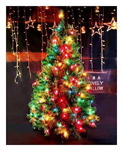 casa clausi christmas tree 5 feet pre lit multi colored lights artificial green madison