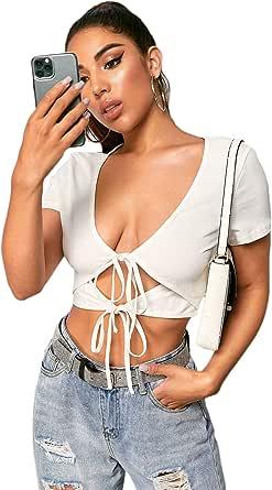 Floerns Women's V Neck Solid Short Sleeve Tie Front Crop Top
