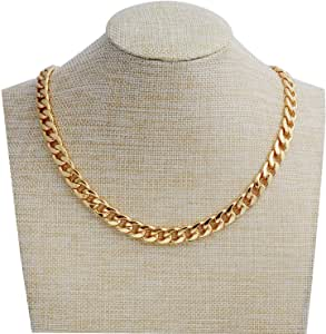 Adecco LLC Gold Chain Necklace, Ultra Luxury Look& Feel Real Solid 14k Gold plated Curb Chain Necklace 10mm