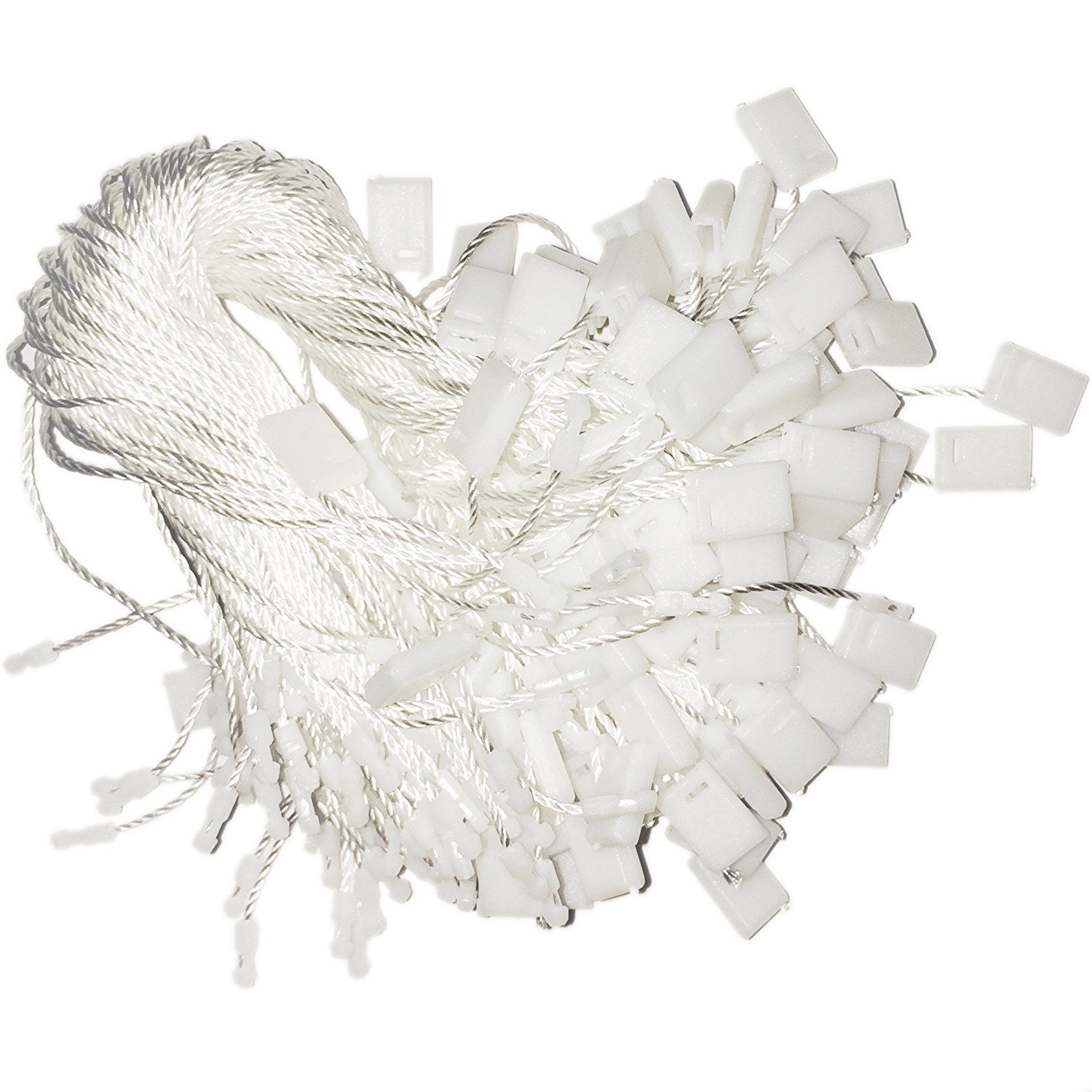 Hang Tag Fasteners - White Nylon Strings with Plastic Locker - 7'' long (3.5'' when fastened) - 500 Pieces by Retail Supply Co (Image #1)