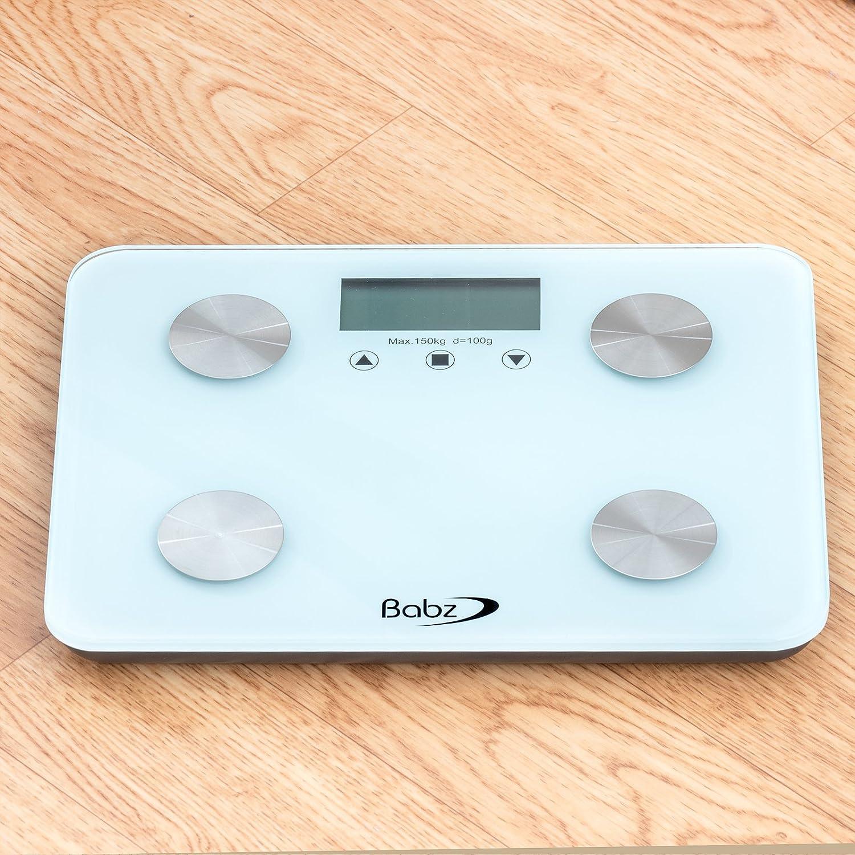 Bmi bathroom scales - Babz White Glass Bmi Body Fat Digital Bathroom Scale 150kg Body Fat Analyser Amazon Co Uk Health Personal Care