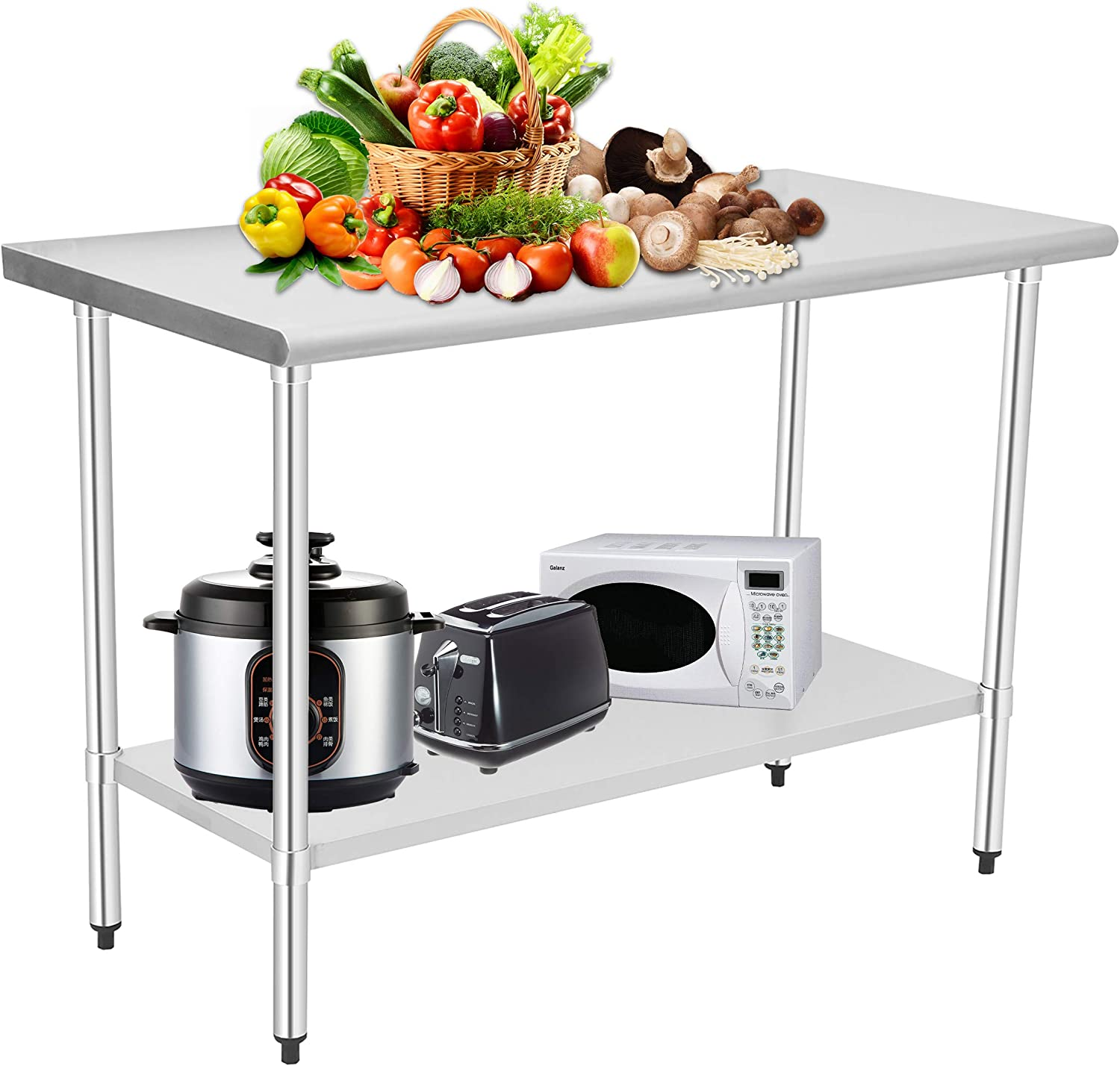 HOCCOT Stainless Steel Prep & Work Table with Adjustable Shelf, Kitchen Island with Storage, Commercial Workstations, NSF-Certified, Utility Table in Kitchen Garage Laundry Room Outdoor BBQ, 24