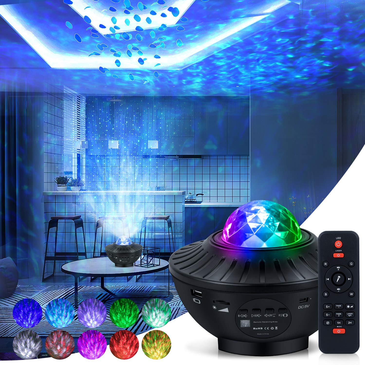 Star Projector Galaxy Night Light Projector Star Light Projector for Bedroom 10 Colors Ambiance with Bluetooth Music Speaker for Kids Adult Rooms Birthday Deeply Sleep Baby Night Light Projector