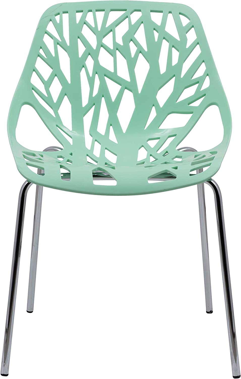 LeisureMod Modern Asbury Dining Chair with Chromed Legs, Mint