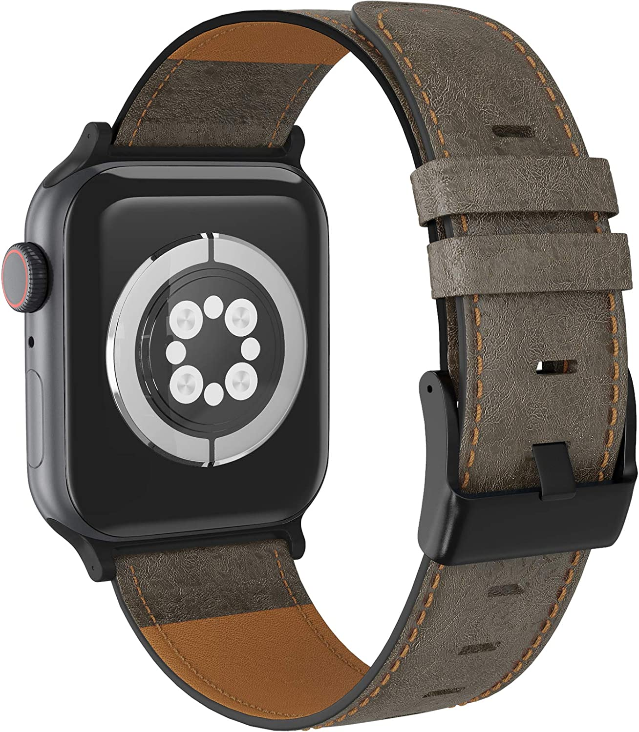 LORDSON Leather Band Compatible with Apple Watch 42mm 44mm, Vintage Genuine Replacement Watch Strap Wristband Man Women Compatible with iWatch Series SE 6/5/4/3/2/1