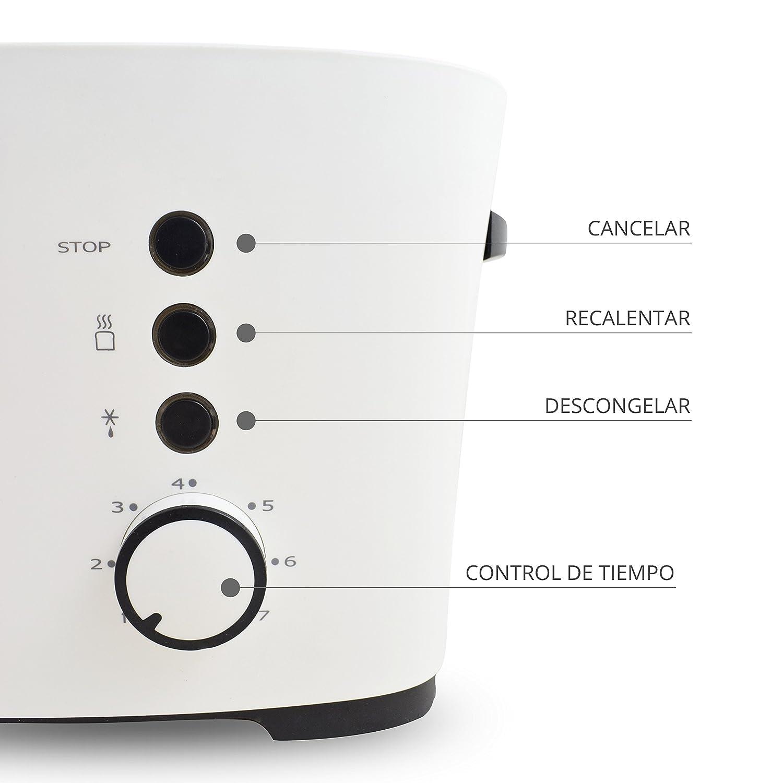 TM Electron TMPTS001 Tostadora con 7 Niveles de Tostado y Función de Descongelación 1000 W: Amazon.es: Hogar