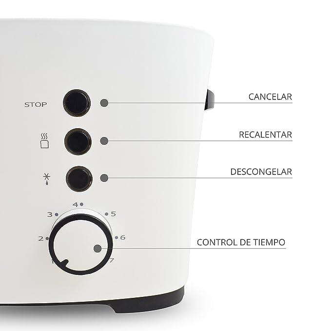 TM Electron TMPTS001 Tostadora con 7 Niveles de Tostado y Función de Descongelación, 1000 W: Amazon.es: Hogar