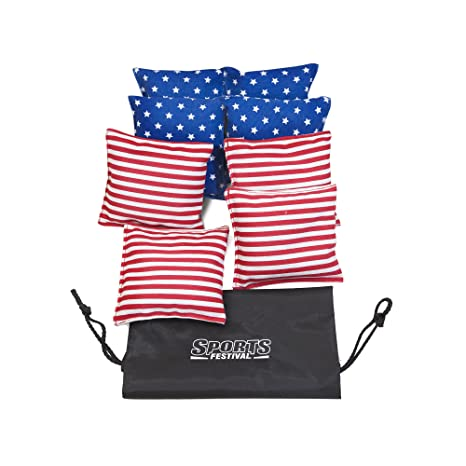 Stupendous Sports Festival Premium All Weather Duck Cloth Cornhole Bean Bag Set Total Count 8 Tote Bag Included Stars Strips Cjindustries Chair Design For Home Cjindustriesco
