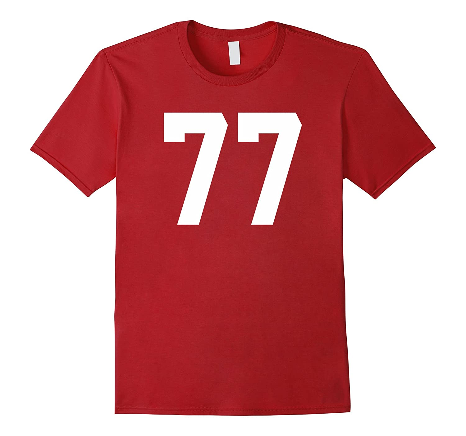 77 Sports Jersey Number T-Shirt for Team Fan Player #77-Art