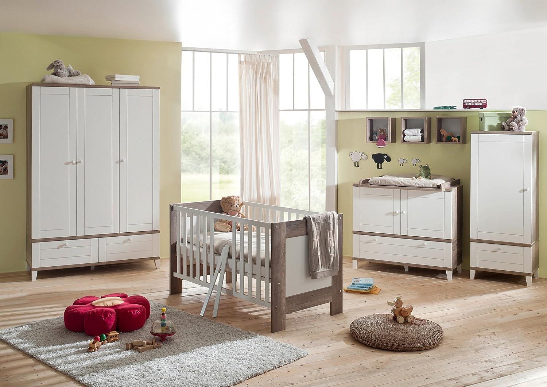 Babyzimmer mit Bett 70 x 140 cm Wildeiche Trüffel/ weiss matt